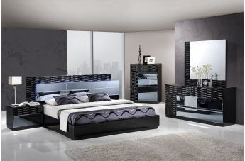 Global Furniture Manhattan 4-Piece Platform Bedroom Set in Black